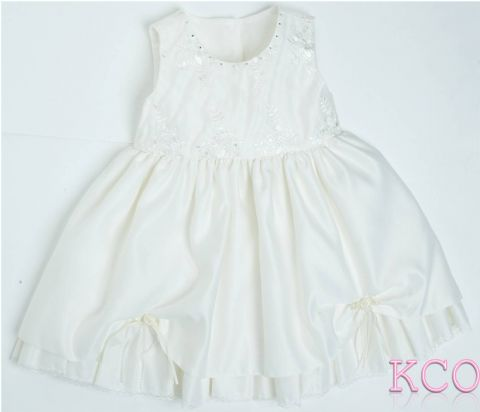 Diamante Neck Dress Ivory ~ girls dress